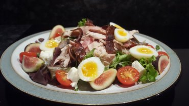Pheasant with a Fig, Feta & Quail Egg Salad