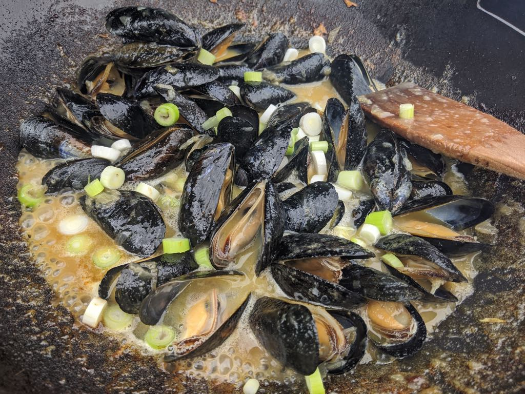 Thai Green Mussels Cooking